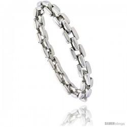 Stainless Steel Bar Link Bracelet 3/8 in wide, 8 1/2 in long