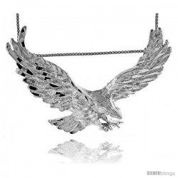 Sterling Silver Large Eagle Pendant, 2 1/2 in wide