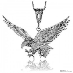Sterling Silver Large Eagle Pendant, 2 3/16 in wide