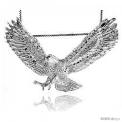 Sterling Silver Large Eagle Pendant, 2 1/2 in wide -Style 4p263