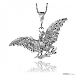 Sterling Silver Eagle Pendant, 2 3/16 in. X 3/4 in (mmX20 mm)