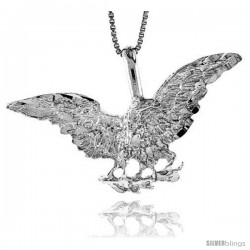 Sterling Silver Eagle Pendant, 1 3/4 in X 5/8 in (mmX17 mm)