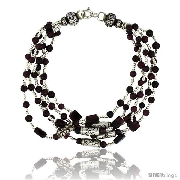 https://www.silverblings.com/17032-thickbox_default/7-in-sterling-silver-5-strand-bali-style-garnet-bead-bracelet.jpg