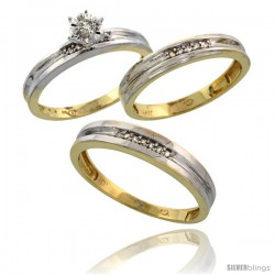 10k Yellow Gold Diamond Trio Wedding Ring Set His 4mm & Hers 3.5mm -Style 10y119w3
