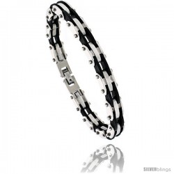 Stainless Steel & Rubber Bracelet 3/8 in wide, 8 in long