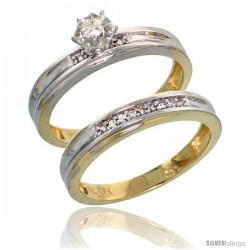 10k Yellow Gold Ladies' 2-Piece Diamond Engagement Wedding Ring Set, 1/8 in wide -Style 10y120e2