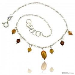 Sterling Silver Anklet Natural Citrine Beads Gold Pearl Brown Bicone Crystals, adjustable 9 - 10 in -Style Sa6