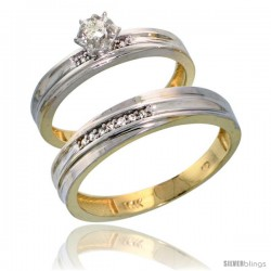 10k Yellow Gold 2-Piece Diamond wedding Engagement Ring Set for Him & Her, 3.5mm & 4mm wide -Style 10y120em