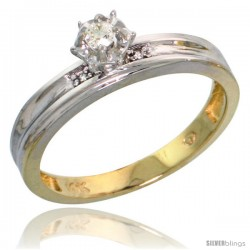 10k Yellow Gold Diamond Engagement Ring, 1/8inch wide -Style 10y120er