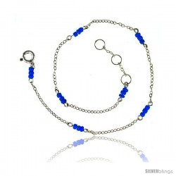 Sterling Silver Anklet Turquoise Glass Seed Beads, adjustable 9 - 10 in
