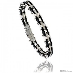 Stainless Steel & Rubber Bracelet 1/2 in wide, 8 in long -Style Bss82