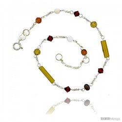 Sterling Silver Anklet Natural Citrine Beads Brown Pearls Orange Bicone Crystals, adjustable 9 - 10 in