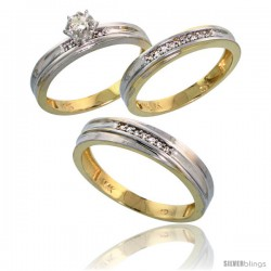 10k Yellow Gold Diamond Trio Wedding Ring Set His 5mm & Hers 3.5mm -Style 10y120w3