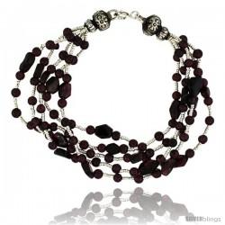6 1/2 in. Sterling Silver 5-Strand Bali Style Garnet Bead Bracelet