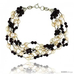 7 1/2 in. Sterling Silver 6-Strand Bead Bracelet w/ Freshwater Pearls & Garnet Beads