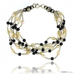 7 1/2 in. Sterling Silver 6-Strand Bead Bracelet w/ Freshwater Pearls & Hematite Beads
