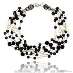 7 1/2 in. Sterling Silver 6-Strand Bead Bracelet w/ Freshwater Pearls, Black Onyx Stones & Garnet Beads