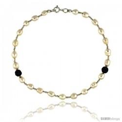7 in. Sterling Silver Bead Bracelet w/ Freshwater Pearls & Black Onyx Stones