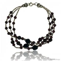 7 1/2 in. Sterling Silver 3-Strand Bead Bracelet w/ Garnet Beads & Black Onyx Stones