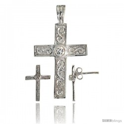 Sterling Silver Swirl-designed Latin Cross Earrings (16mm tall) & Pendant (28mm tall) Set, w/ Bezel Set Brilliant Cut CZ Stones