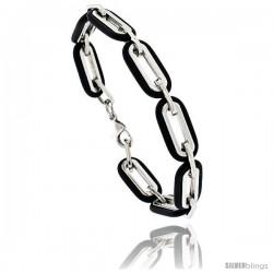 Stainless Steel & Rubber Long Link Bracelet 3/8 in wide, 8 in long