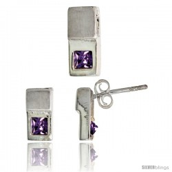 Sterling Silver Matte-finish Fancy Earrings (10mm tall) & Pendant Slide (12mm tall) Set, w/ Princess Cut Amethyst-colored CZ