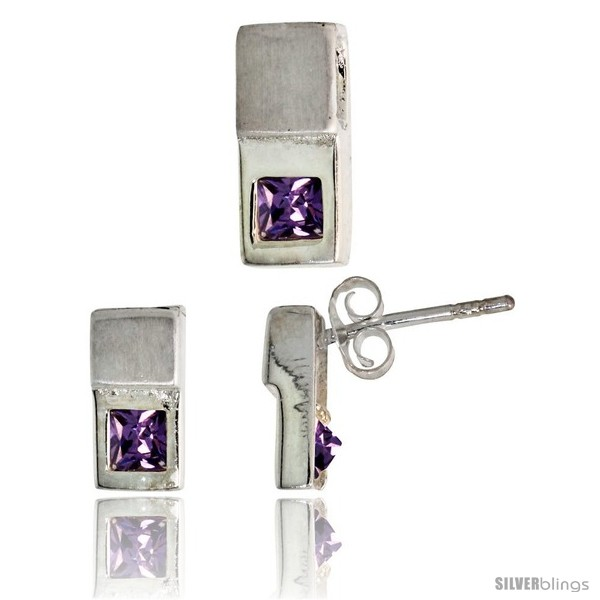 https://www.silverblings.com/17100-thickbox_default/sterling-silver-matte-finish-fancy-earrings-10mm-tall-pendant-slide-12mm-tall-set-w-princess-cut-amethyst-colored-cz.jpg