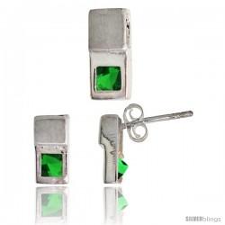Sterling Silver Matte-finish Fancy Earrings (10mm tall) & Pendant Slide (12mm tall) Set, w/ Princess Cut Emerald-colored CZ