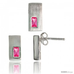 Sterling Silver Matte-finish Rectangular Earrings (11mm tall) & Pendant Slide (11mm tall) Set, w/ Emerald Cut Pink