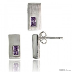 Sterling Silver Matte-finish Rectangular Earrings (11mm tall) & Pendant Slide (11mm tall) Set, w/ Emerald Cut Amethyst-colored
