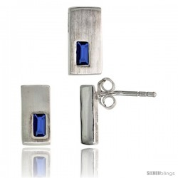 Sterling Silver Matte-finish Rectangular Earrings (11mm tall) & Pendant Slide (11mm tall) Set, w/ Emerald Cut Blue