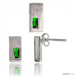Sterling Silver Matte-finish Rectangular Earrings (11mm tall) & Pendant Slide (11mm tall) Set, w/ Emerald Cut Emerald-colored