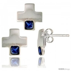 Sterling Silver Matte-finish Greek Cross Earrings (10mm tall) & Pendant Slide (10mm tall) Set, w/ Princess Cut Blue