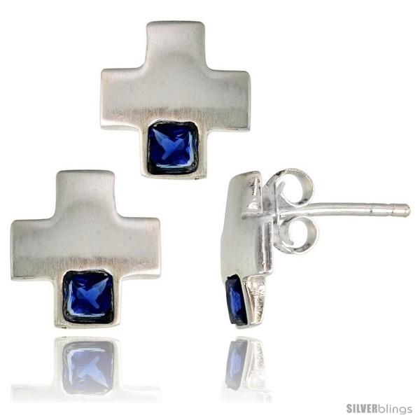 https://www.silverblings.com/17120-thickbox_default/sterling-silver-matte-finish-greek-cross-earrings-10mm-tall-pendant-slide-10mm-tall-set-w-princess-cut-blue.jpg