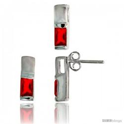 Sterling Silver Matte-finish Rectangular Earrings (13mm tall) & Pendant Slide (13mm tall) Set, w/ Emerald Cut Ruby-colored CZ