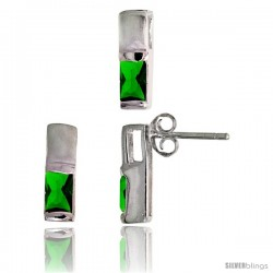 Sterling Silver Matte-finish Rectangular Earrings (13mm tall) & Pendant Slide (13mm tall) Set, w/ Emerald Cut Emerald-colored