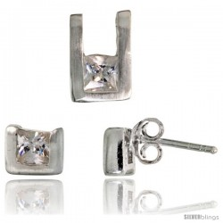 Sterling Silver Matte-finish U-shaped Stud Earrings (6mm tall) & Pendant (10mm tall) Set, w/ Princess Cut CZ Stones