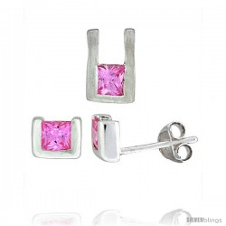 Sterling Silver Matte-finish U-shaped Stud Earrings (6mm tall) & Pendant (10mm tall) Set, w/ Princess Cut Pink