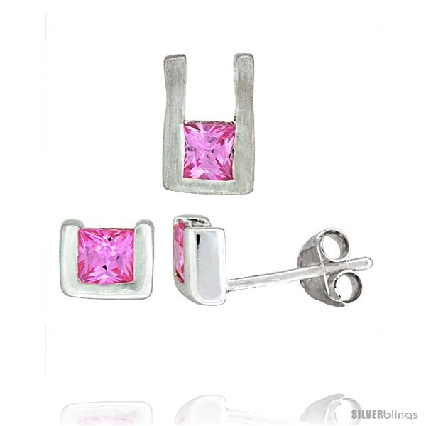 https://www.silverblings.com/17134-thickbox_default/sterling-silver-matte-finish-u-shaped-stud-earrings-6mm-tall-pendant-10mm-tall-set-w-princess-cut-pink.jpg