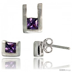 Sterling Silver Matte-finish U-shaped Stud Earrings (6mm tall) & Pendant (10mm tall) Set, w/ Princess Cut Amethyst-colored CZ
