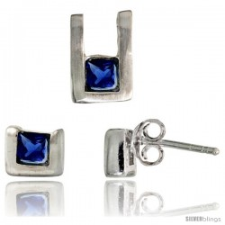 Sterling Silver Matte-finish U-shaped Stud Earrings (6mm tall) & Pendant (10mm tall) Set, w/ Princess Cut Blue Sapphire-colored