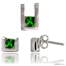 Sterling Silver Matte-finish U-shaped Stud Earrings (6mm tall) & Pendant (10mm tall) Set, w/ Princess Cut Emerald-colored CZ