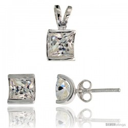 Sterling Silver Square-shaped Stud Earrings (7 mm) & Pendant (12mm tall) Set, w/ Princess Cut CZ Stones
