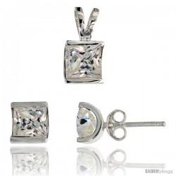 Sterling Silver Square-shaped Stud Earrings (7 mm) & Pendant (12mm tall) Set, w/ Princess Cut CZ Stones
