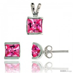 Sterling Silver Square-shaped Stud Earrings (7 mm) & Pendant (12mm tall) Set, w/ Princess Cut Pink Tourmaline-colored CZ Stones