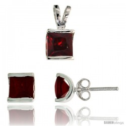 Sterling Silver Square-shaped Stud Earrings (7 mm) & Pendant (12mm tall) Set, w/ Princess Cut Ruby-colored CZ Stones