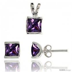 Sterling Silver Square-shaped Stud Earrings (7 mm) & Pendant (12mm tall) Set, w/ Princess Cut Amethyst-colored CZ Stones