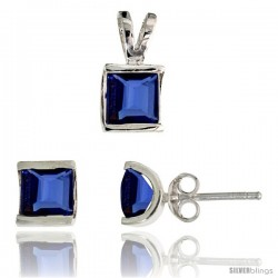 Sterling Silver Square-shaped Stud Earrings (7 mm) & Pendant (12mm tall) Set, w/ Princess Cut Blue Sapphire-colored CZ Stones