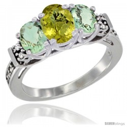 14K White Gold Natural Lemon Quartz & Green Amethyst Ring 3-Stone Oval with Diamond Accent
