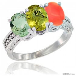 14K White Gold Natural Green Amethyst, Lemon Quartz & Coral Ring 3-Stone 7x5 mm Oval Diamond Accent
